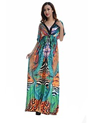 Women's V Neck Print Oversize Slim Maxi Plus Size Dress