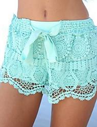 Ugjennomsiktig  -  Mikroelastisk  -  Shorts  -  Kvinners bukser ( Blonde )