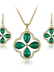 New Luxury Crystal Jewelry Set Crystal Necklaces Dangle Earrings Set for Women Party Dress Jewelry (More Colors)