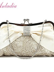 Anladia Ladies Bow Accent Satin Lace Kiss Lock Bridal Wedding Evening Clutch Purse Bag