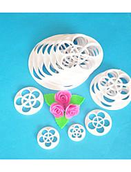Vier c Kuchenschneider, Rosenblatt Fondant-Scherblocksatz, Fondant Tools Kuchen, der Werkzeuge, Kuchenscherblockform 13pcs / set
