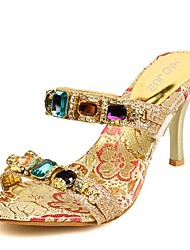 Women's Shoes Synthetic Stiletto Heel Heels/Slingback Sandals Dress/Casual Gold