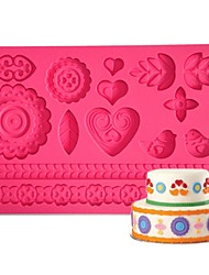 FOUR-C Gumpaste Mold Cake Design Mould,Cake Supplies Fondant Mat Sugar Paste Mat Cake Tools Color Pink