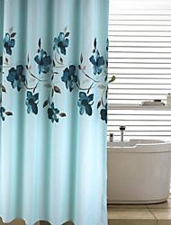 Modern Ink Blue Floral Peach Finish Shower Curtain