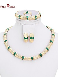 Westernrain Pendant Necklace Filled Gorgeous Jewelry Fashion Gold Plated Jewelry Set Green Party Jewelry