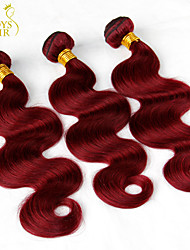 "3Pcs Lot 12""-28"" Cambodian Virgin Hair Body Wave Wavy Burgundy Wine Red 99J 6A Remy Human Hair Weave Bundles Tangle Free"