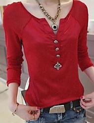 naisten vankka musta / valkoinen / punainen t-paita, pitkähihainen