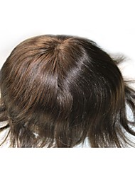 Mens Toupee Dark Brown #2 Hair Replacement Base Size Adjustable French Lace PU On The Back And Sides