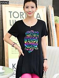 Digital Graffiti runden Kragen lässig Blumendruck Kurzarm langes T-Shirt der bs®women