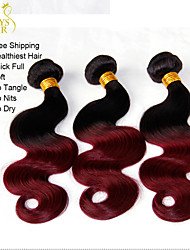 """3 Pcs Lot 14-28"""" Ombre Mongolian Virgin Human Hair Extensions/Weaves Body Wave 2 Two Tone Black Burgundy Wine Red 1B/99J"""