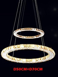 LED Ceiling Pendant Light Lighting Lamps Modern Fixtures Amber K9 Crystal Round 2 Rings 50CM Plus 70CM