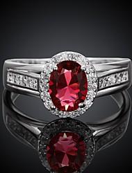 Classic Big Popular Diamante Women Silver Zircon Statement Rings(Silver)(1Pcs)