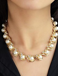 Necklace Strands Necklaces / Pearl Necklace Jewelry Wedding / Party / Daily / Casual Fashion Pearl / Alloy Gold 1pc Gift