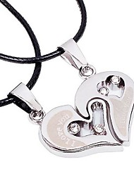 Tina -- Popular Alloy Heart Leather Necklace in Daily