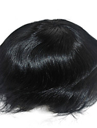 Jet Black Ready Made Mens Toupee 1# PU Side&Back 100% Human Hair System Hair Replacement Base Size Adjustable