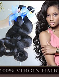 "3 Pcs Lot 8""-30"" Unprocessed 6A Peruvian Virgin Hair Body Wave Natural Black Remy Human Hair Weaves Bundles Soft & Thick"
