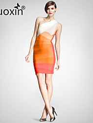 nuoxin® Women's One Shoulder Gradient Stripe Package Buttocks Cultivate One's Morality Stretch The Bandage Sexy Dress