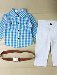 Boy's Cotton Blend Clothing Set,Summer / Spring / Fall Check