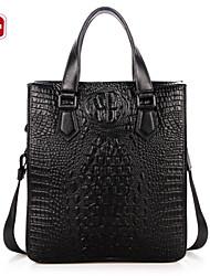 SWISSGEAR® Mens Black Crocodile Grain Leather IPAD Shoulder Diagonal Bag