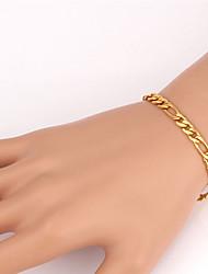 u7® qualidade superior 18k pedaços de ouro cheias Figaro pulseira cadeia para homens ou mulheres 4 milímetros 7.6inches 19,5 centímetros