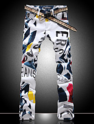 Fashion Color de la flor Dibujo Hombres Print Denim Jeans