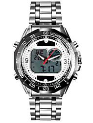 relógios de pulso de moda solar de aço inoxidável militar do exército 2 de tempo digital zona analógico levou homens impermeáveis