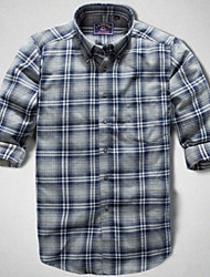 U&Shark Men's High Quality Sanded Long Sleeve Shirt with Blue Grey Check Grain /MM1044