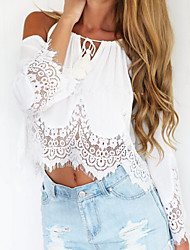 Women's Beach/Casual Lace Hem Long Sleeve Short T-shirt