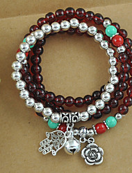Women's New Bracelet Arrival Synthetic Garnet Stone and Tibetan Silver Multilayer