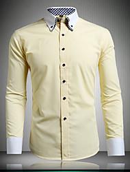 trabajo de los hombres / camisa pulsado el botón de manga larga sólido formales