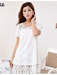 Women's Short Sleeve Pure Cotton Summer Elegant White Lace Mini Dress