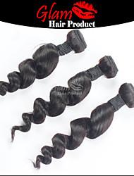 "3 PCS Lot 8""-28"" Mix Length Brazilian Virgin Hair #1B Loose Wave Human Hair Extensions Free Shipping"