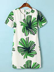 Women's Summer Korea Sexy/Casual/Big Flower Print Inelastic Short Sleeve Knee-length Dress (Chiffon)