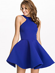 A.H.W  Women's Sexy/Casual/Party Round Sleeveless Dresses (Cotton)