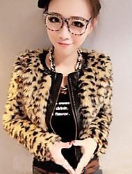 Women's Leopard Fight Imitation Leather Zipper Jacket