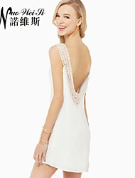 Women's Beach/Cute/Plus Sizes Stretchy Sleeveless Mini Dress (Chiffon)