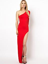 Aliexpress, robe, été, nouveau, européen, jambe, fente, jupe, chiffonné, plancher, robe, simple, oblique