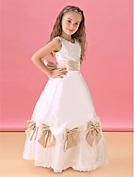 A-line Floor-length Flower Girl Dress - Lace/Satin Sleeveless
