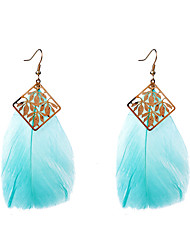 Drop Earrings Feather Bohemian Feather Red Green Pink Dark Red Light Blue Jewelry Party Daily Casual 2pcs