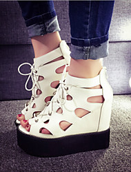 Women's Shoes Patent Leather Wedge Heel Peep Toe Hollow Out Sandals Casual Black/White