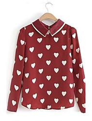 2015 Summer New Blusas Femininas Long Sleeve Peter Pan Collar Cute Sweet Heart Printed Chiffon Shirt