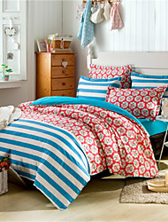 Striped Floral Duvet Covers for Double Bed 100% Cotton Ametrican Style Beddings