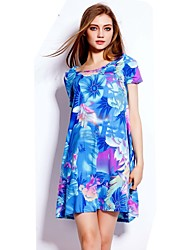 Women's 100% Cotton Elastic Short Sleeve Multi-blue Pattern Loose Dress Plus Size