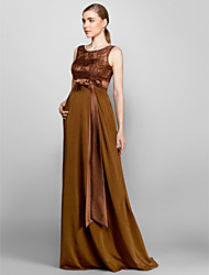 Floor-length Lace/Knit Bridesmaid Dress - Brown Sheath/Column Scoop