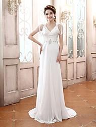 Prom Dress - White Plus Sizes / Petite A-line V-neck Court Train Chiffon / Satin