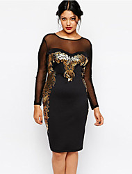 Women's Gilded Print Mesh Insert Black Midi Dress
