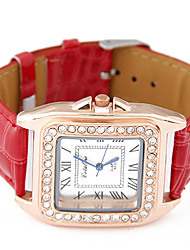 European Style Fashion Trend Leather Square Rhinestone Wild Casual Watches