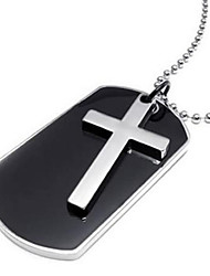 Army Style Dog Tag Cross Pendant Mens Necklace, Color Black Silver, 27 inch Chain