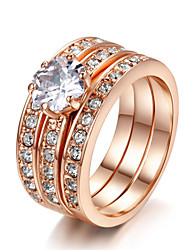 T&C Women's 3 in 1 18k Rose Gold Plated Classic Stack 3 Paved Bands Cz Stone Engagement Ring Set
