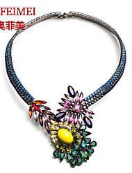 European and American fashion boutique metal flower necklace pearl necklace